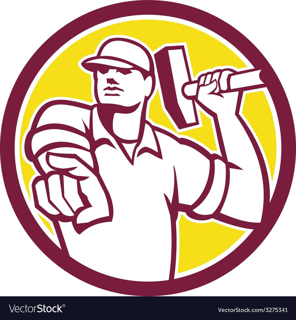 Demolition worker hammer pointing circle retro vector | Price: 1 Credit (USD $1)