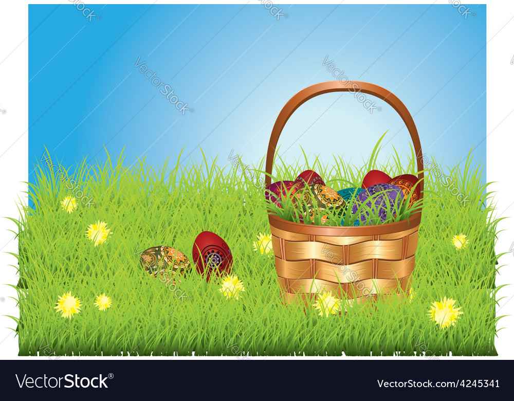 Easter basket on lawn vector | Price: 1 Credit (USD $1)