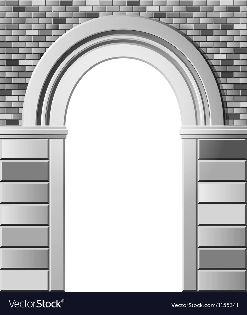 Entrance with arch monochrome template vector | Price: 1 Credit (USD $1)