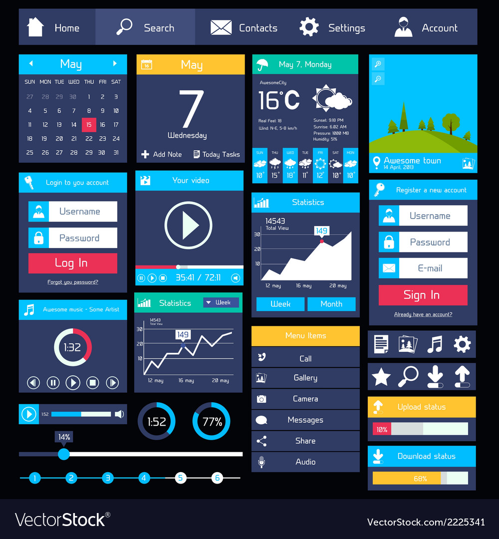 Flat user interface template vector | Price: 1 Credit (USD $1)