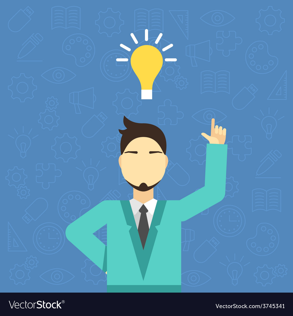 Flat young businessman pointing up creativ vector | Price: 1 Credit (USD $1)