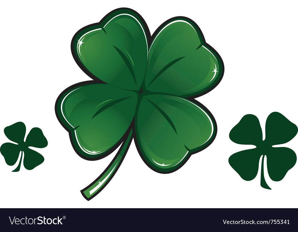 Four leaf clover isolated on white vector   Price: 1 Credit (USD $1)