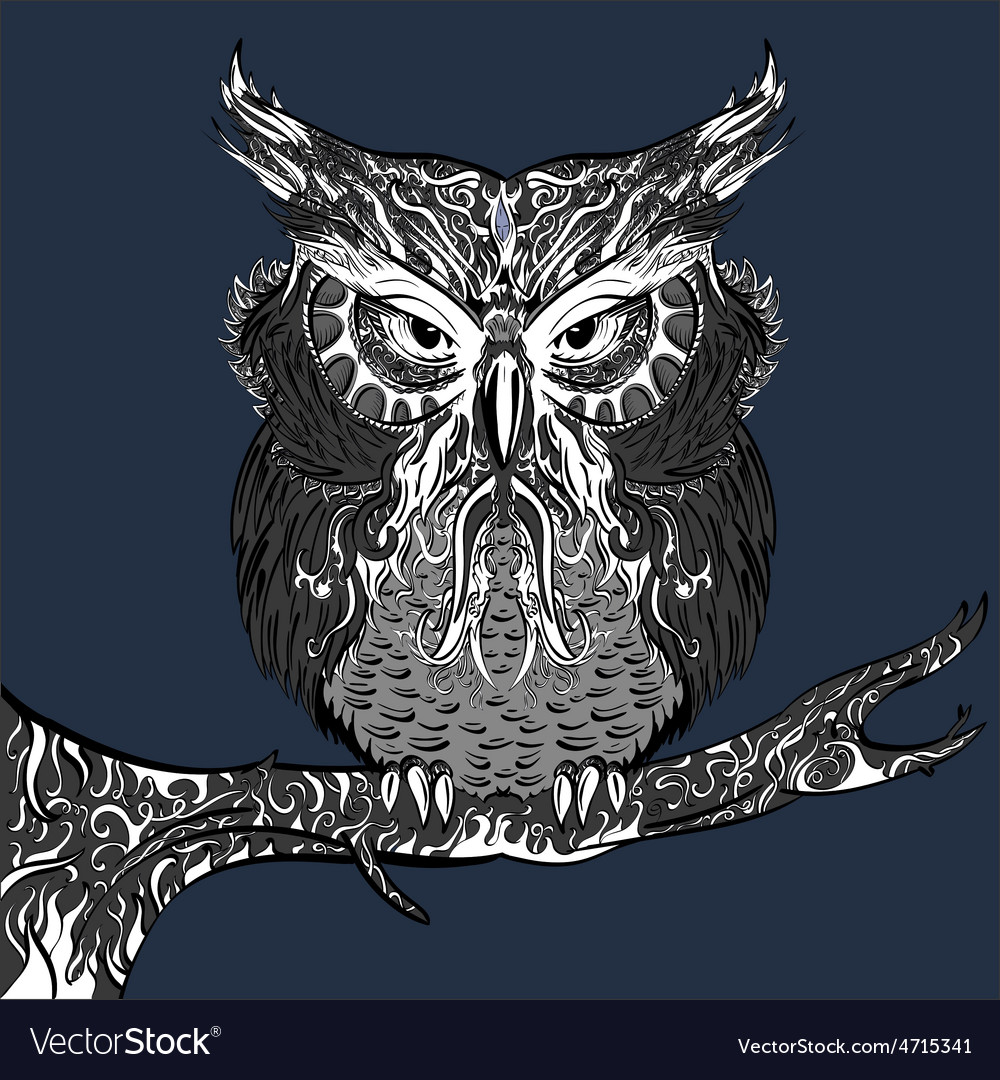 Gray owl with white ornament vector   Price: 1 Credit (USD $1)