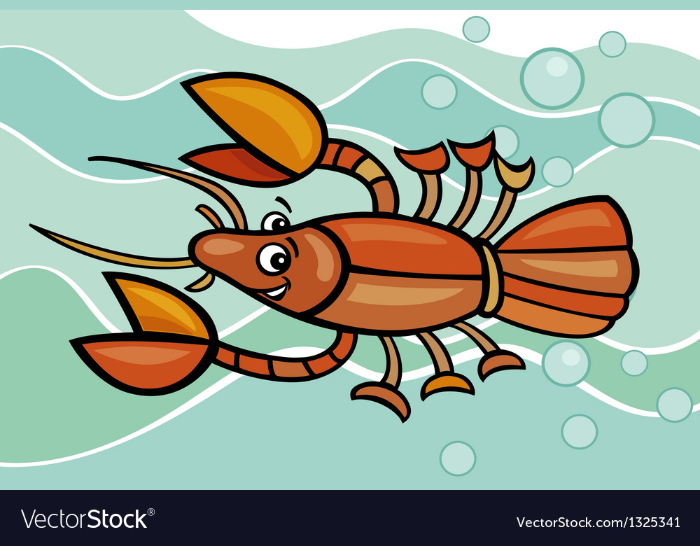 Happy crayfish cartoon vector | Price: 1 Credit (USD $1)