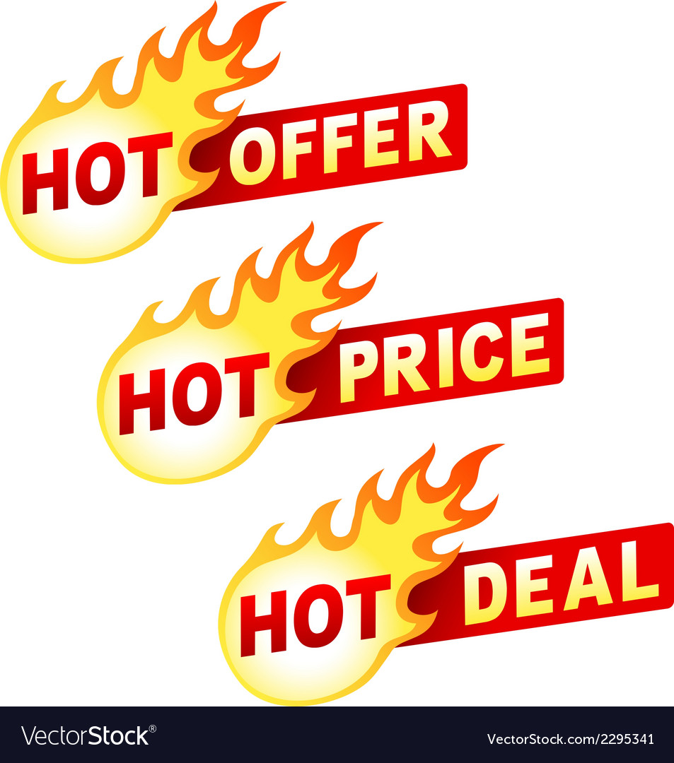 Hot offer price and deal flame sticker badges vector | Price: 1 Credit (USD $1)