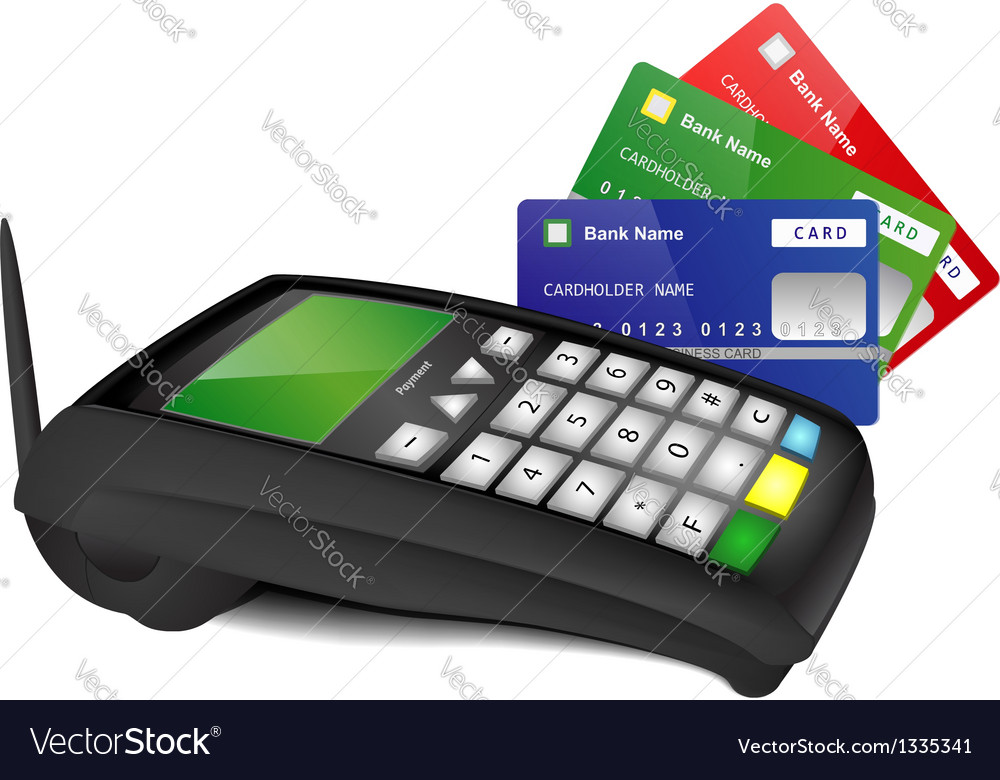 Payment terminal with color bank cards vector | Price: 1 Credit (USD $1)