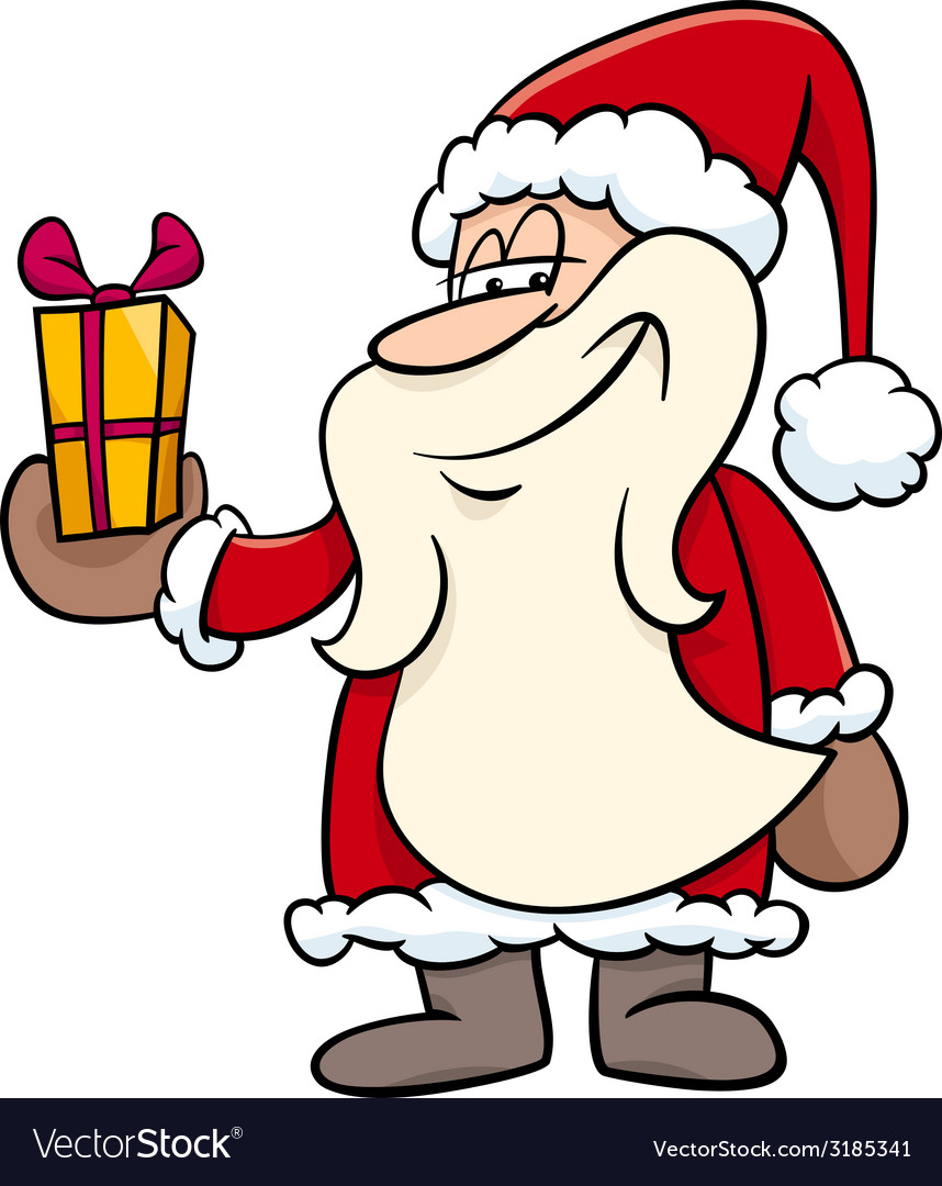 Santa with gift cartoon vector | Price: 1 Credit (USD $1)