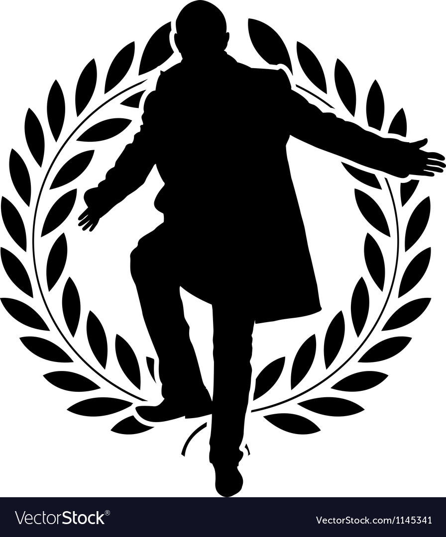 Silhouette of dancing politician and laurel wreath vector | Price: 1 Credit (USD $1)