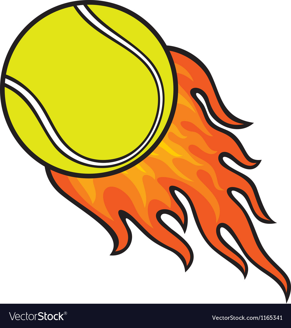 Tennis ball in fire vector | Price: 1 Credit (USD $1)