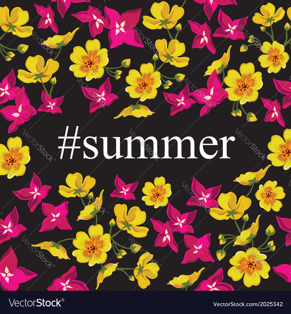 Abstract poster with tag summer floral background vector | Price: 1 Credit (USD $1)