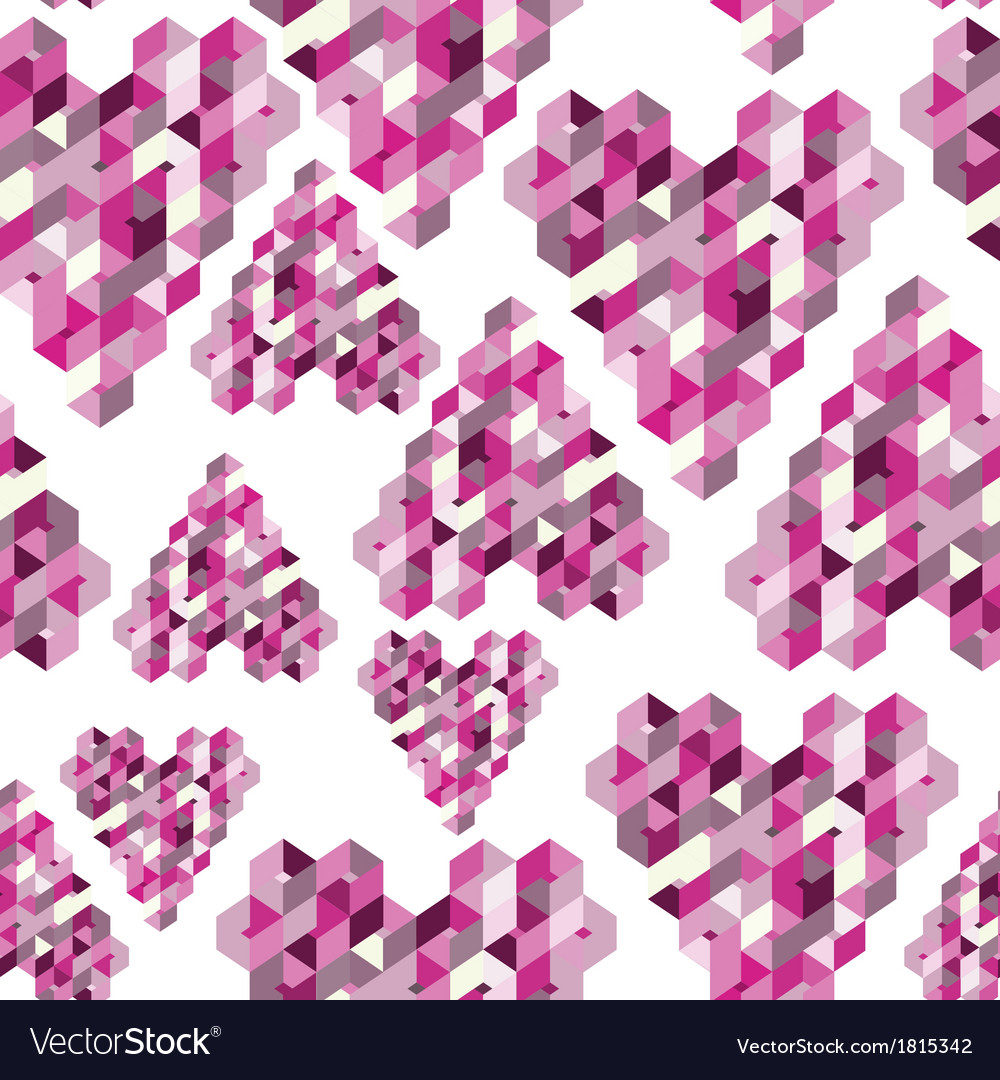 Abstract seamless background with geometric hearts vector | Price: 1 Credit (USD $1)