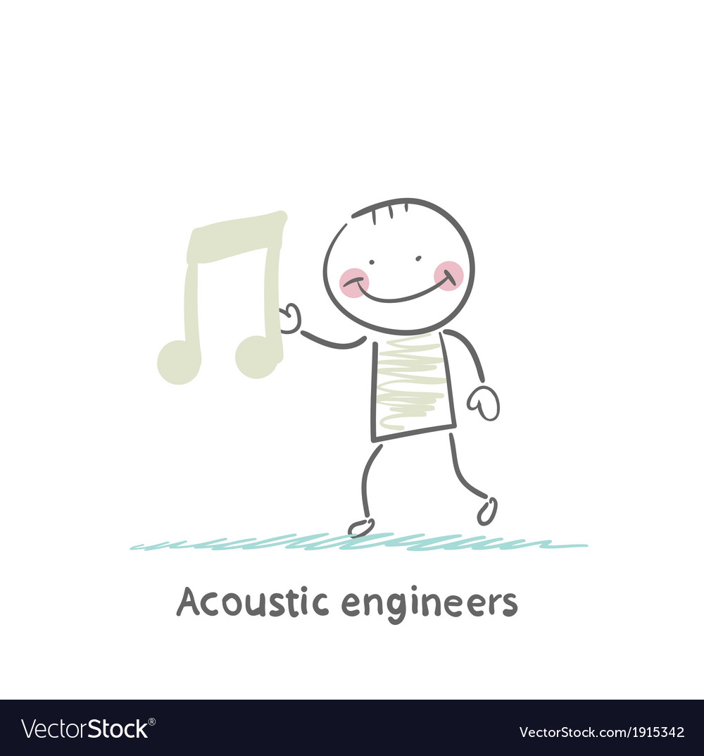 Acoustic engineer with a note vector | Price: 1 Credit (USD $1)