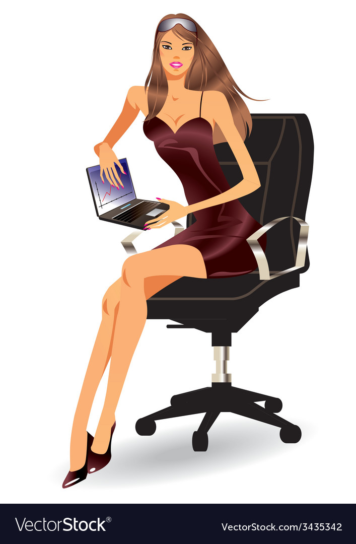 Business woman with laptop vector | Price: 1 Credit (USD $1)