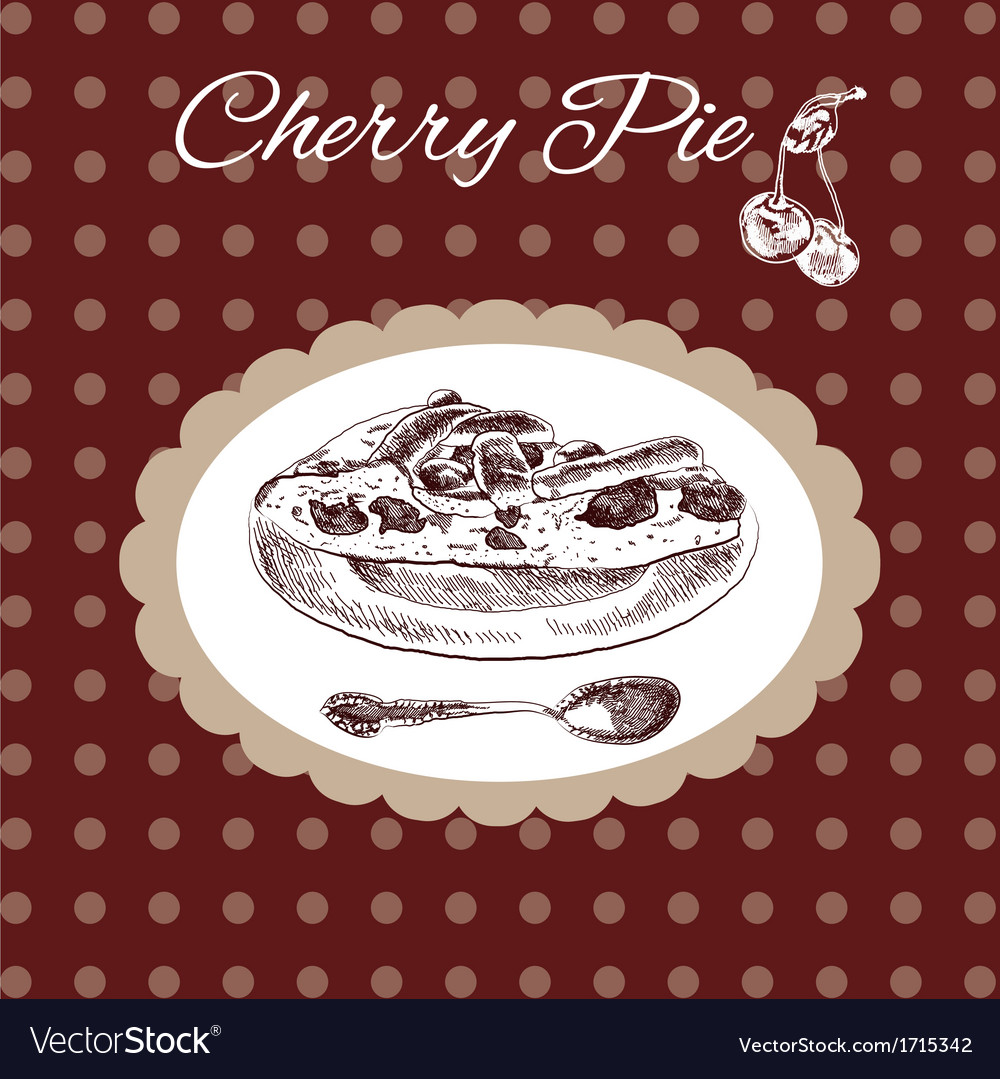 Cherry pie vintage style vector | Price: 1 Credit (USD $1)