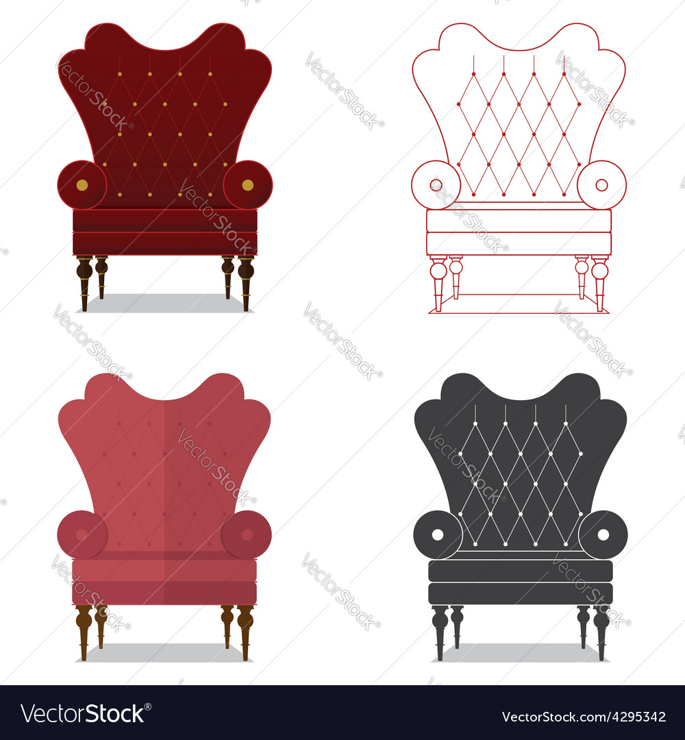 Flat design icon set of classic chair vector | Price: 1 Credit (USD $1)