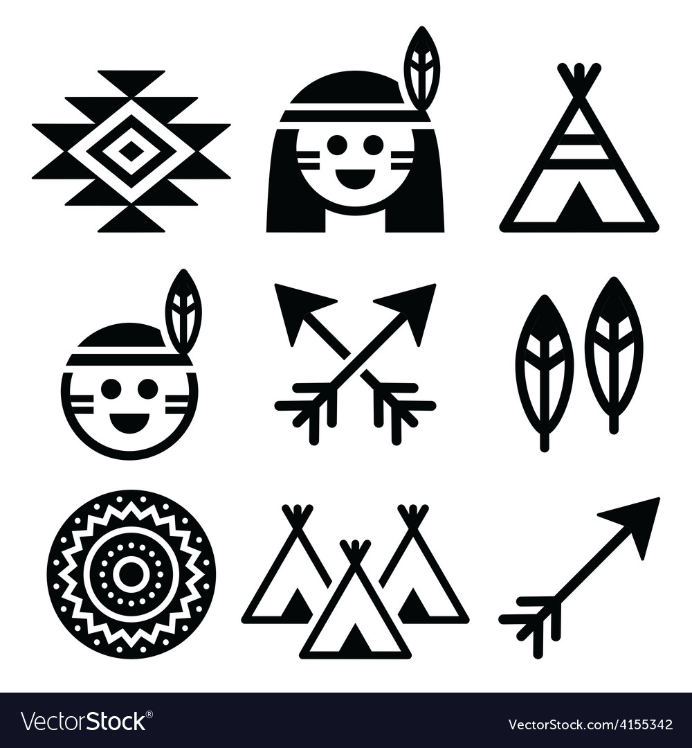 Indian american indigenous people culture icons vector | Price: 1 Credit (USD $1)