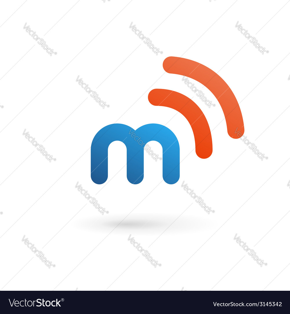 Letter m wireless logo icon design template vector | Price: 1 Credit (USD $1)