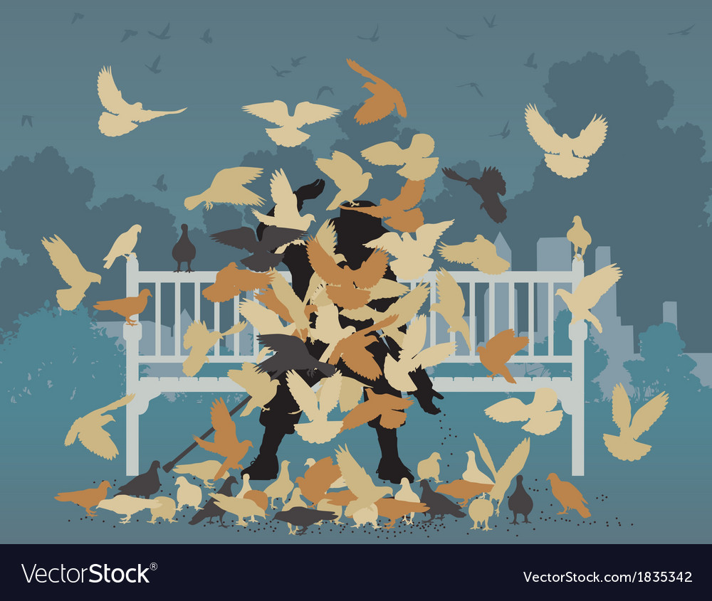 Pigeon park vector | Price: 1 Credit (USD $1)