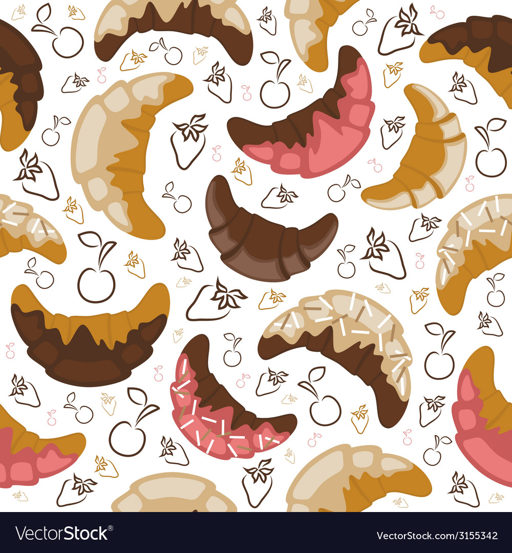 Seamless croissant background vector | Price: 1 Credit (USD $1)