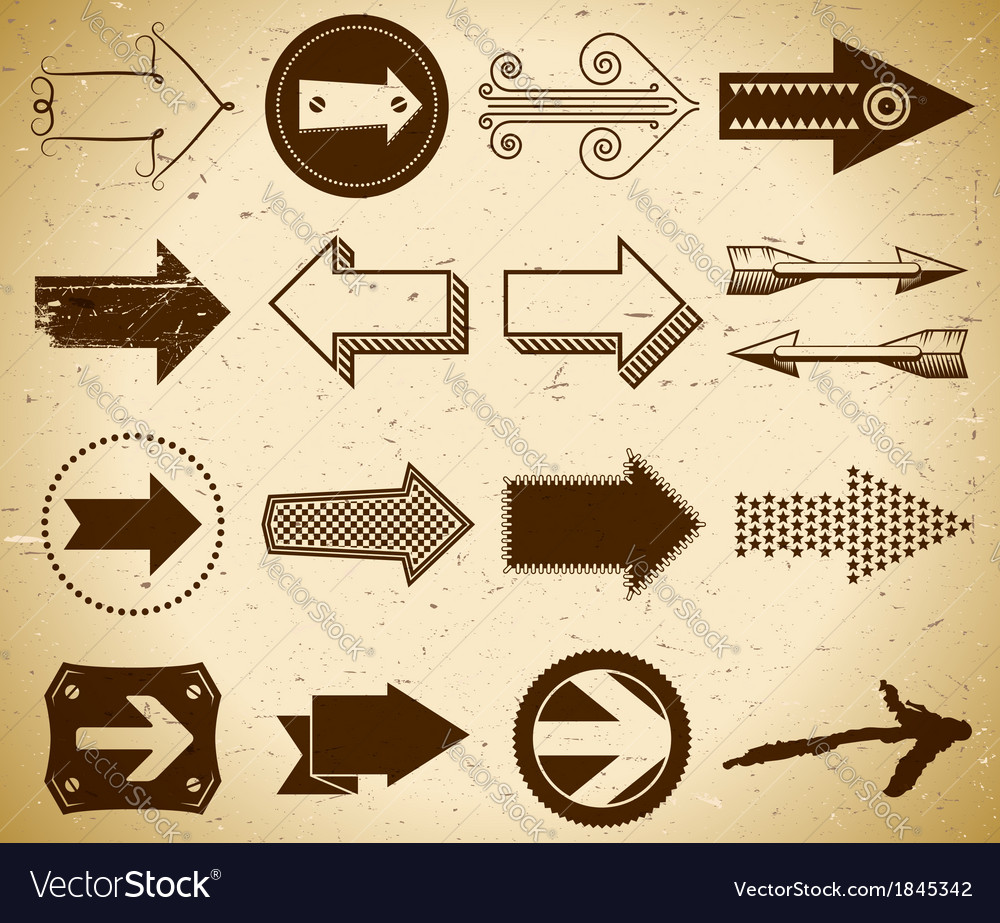 Set of trendy vintage arrows on grungy paper vector | Price: 1 Credit (USD $1)