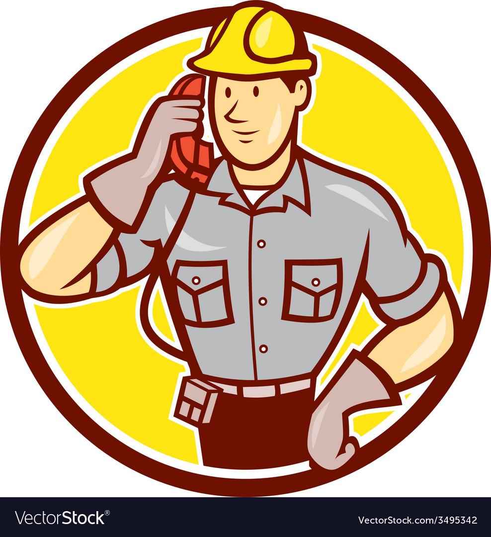Telephone repairman phone circle cartoon vector   Price: 1 Credit (USD $1)