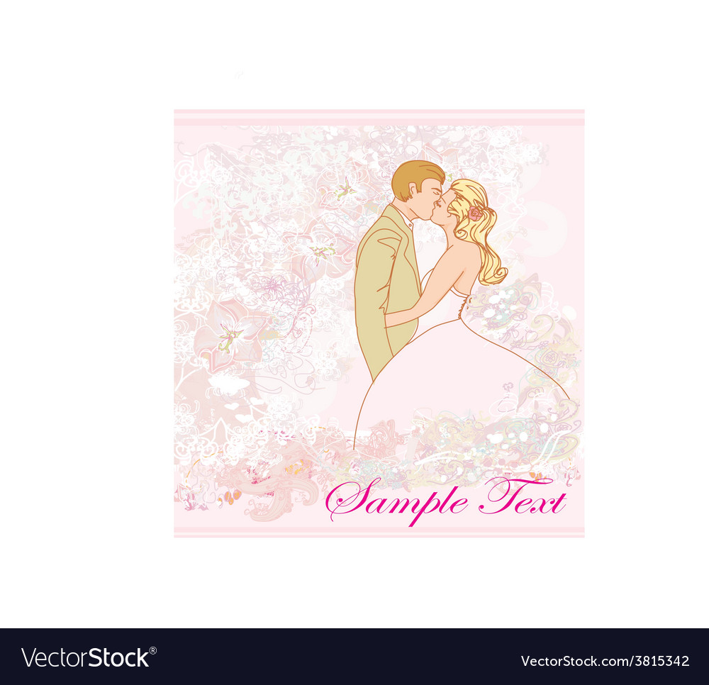 Wedding couple kissing - vintage background vector | Price: 1 Credit (USD $1)