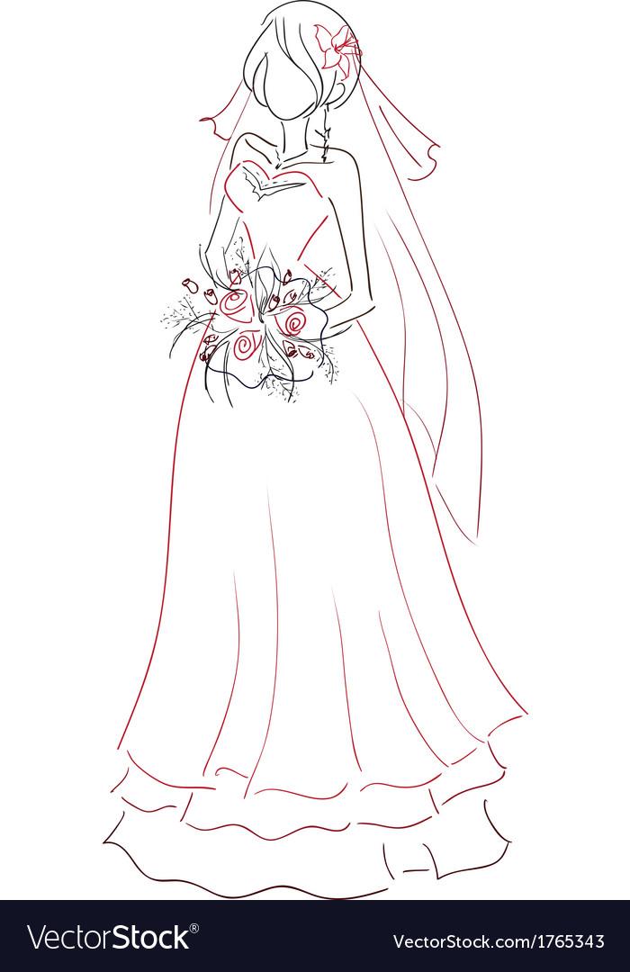 Bride with bouquet sketch vector | Price: 1 Credit (USD $1)