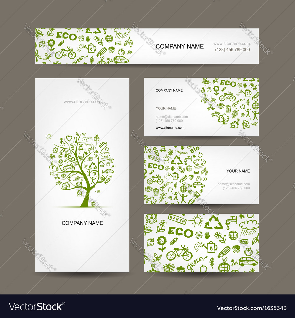 Business cards design green ecology concept vector | Price: 1 Credit (USD $1)