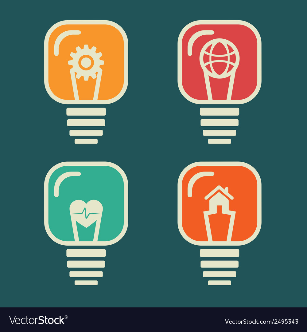 Different icon in every bulb vector | Price: 1 Credit (USD $1)