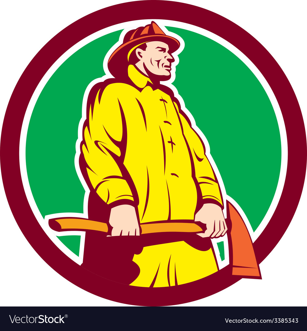 Fireman firefighter standing axe circle retro vector   Price: 1 Credit (USD $1)