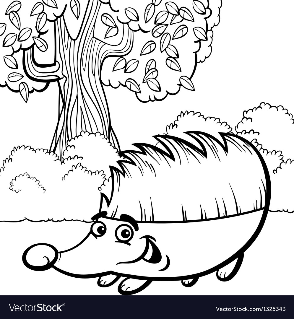 Hedgehog cartoon for coloring book vector | Price: 1 Credit (USD $1)