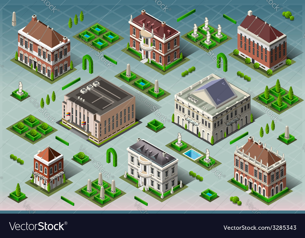 Isometric historic american building vector | Price: 3 Credit (USD $3)
