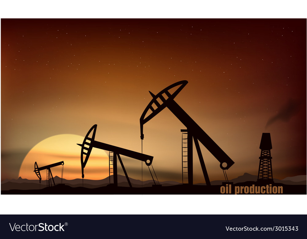 Oil production from the towers at sunset vector | Price: 1 Credit (USD $1)