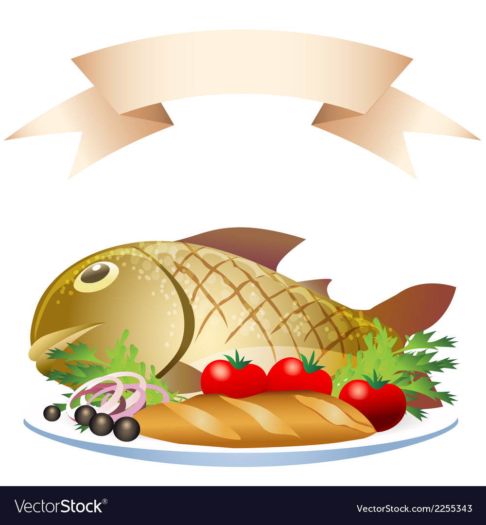 Prepared fish with loaf vector | Price: 1 Credit (USD $1)