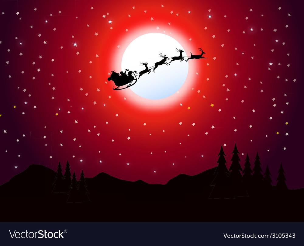 Santa is flying in christmas night vector | Price: 1 Credit (USD $1)