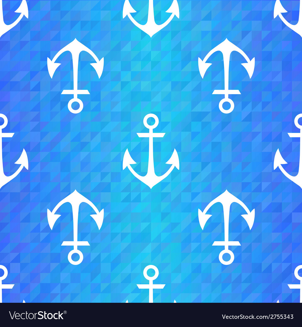 Seamless blue triangle pattern with white anchors vector   Price: 1 Credit (USD $1)