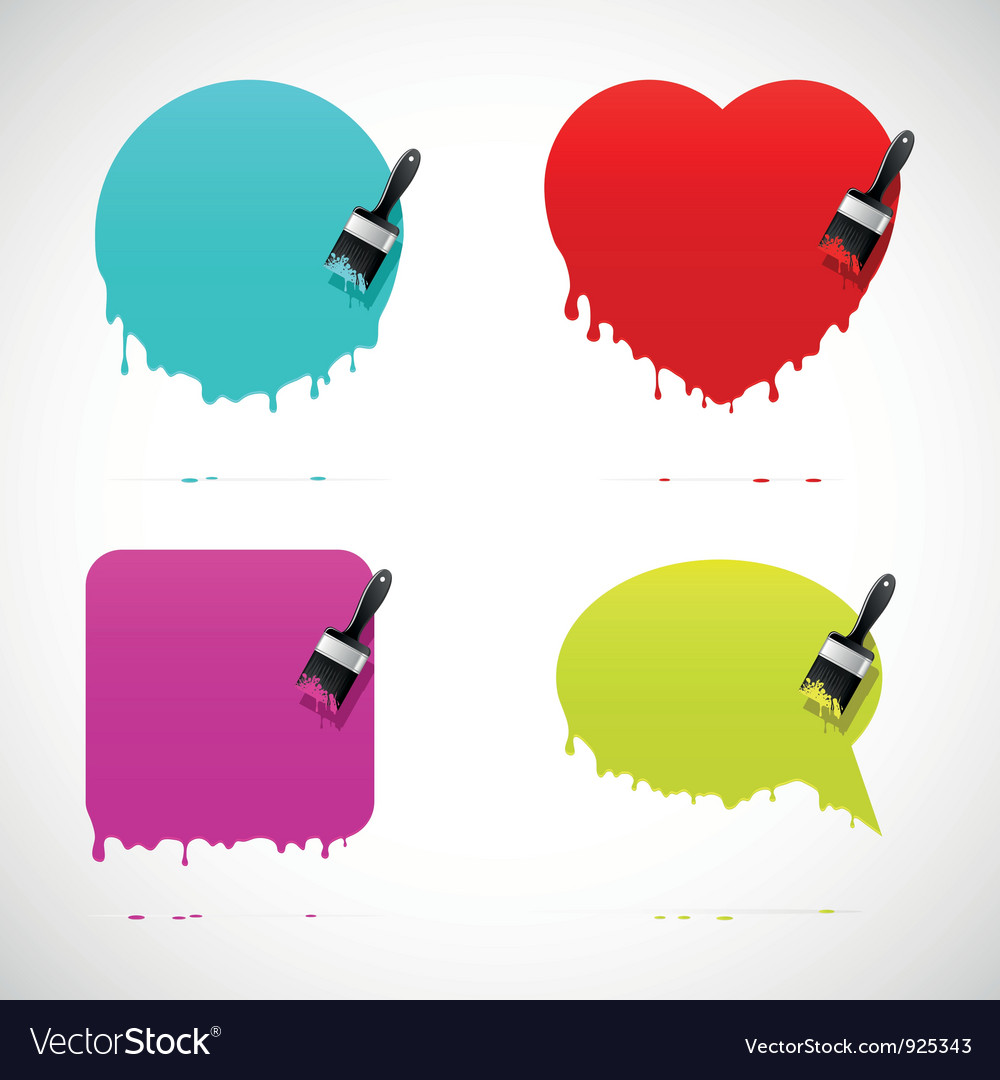 Set of banners with paintbrush vector | Price: 1 Credit (USD $1)
