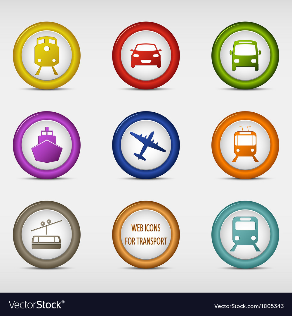 Set of colored round web icons for transport vector | Price: 1 Credit (USD $1)