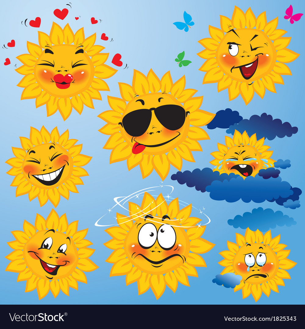 Set of cute cartoons of sun with different express vector | Price: 1 Credit (USD $1)