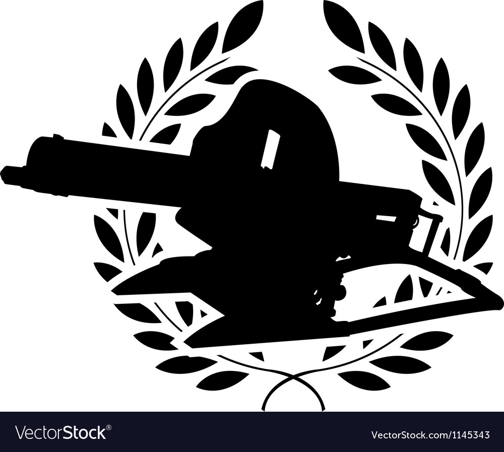 Silhouette of machine gun and laurel wreath vector | Price: 1 Credit (USD $1)
