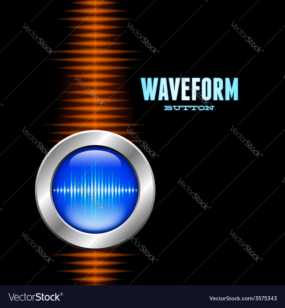 Silver button with sound waveform and orange wave vector | Price: 1 Credit (USD $1)