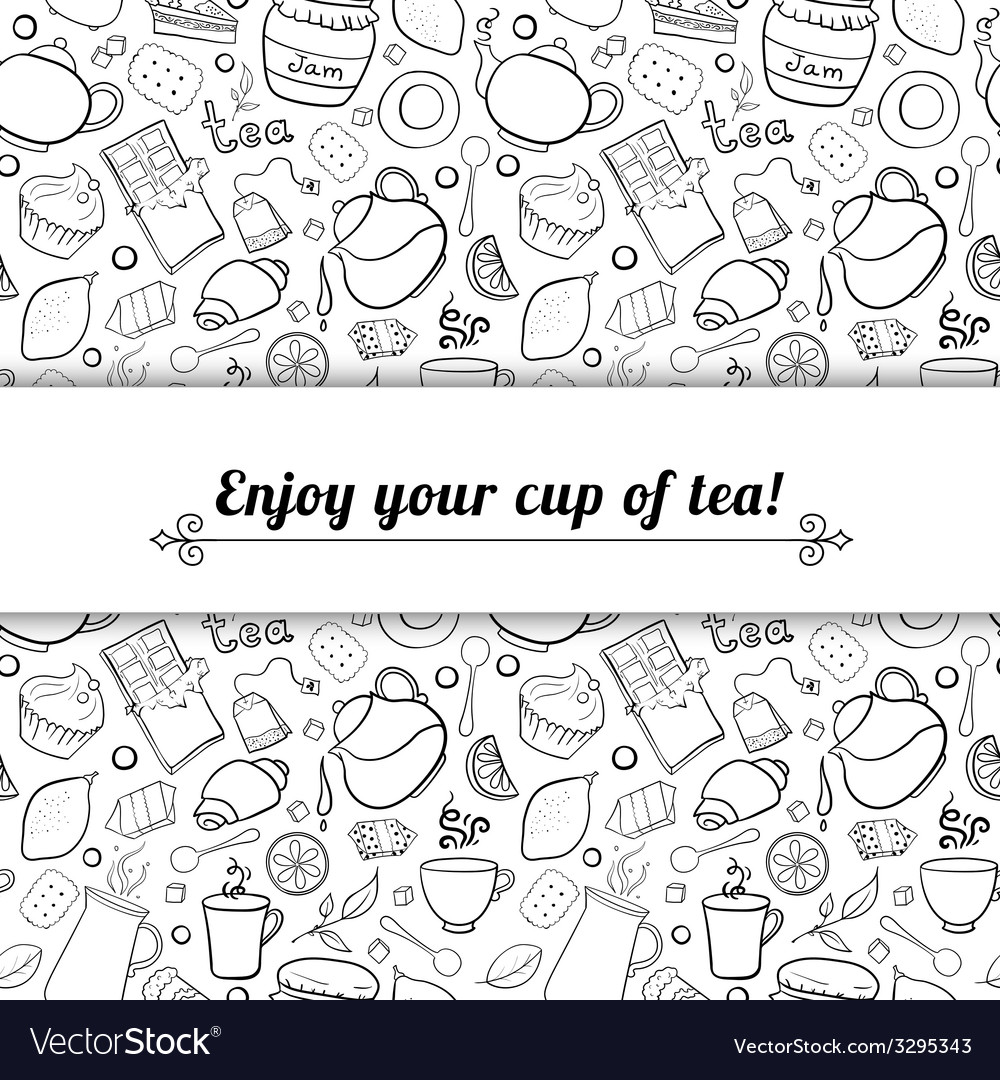 Tea and sweets black and white background vector | Price: 1 Credit (USD $1)