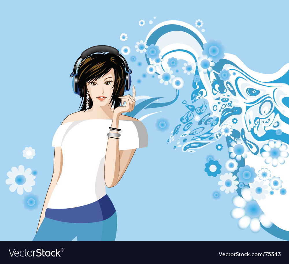Women is listening to music vector | Price: 3 Credit (USD $3)