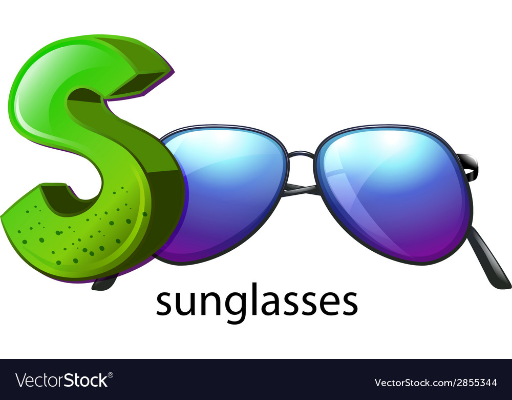 A letter s for sunglasses vector | Price: 1 Credit (USD $1)