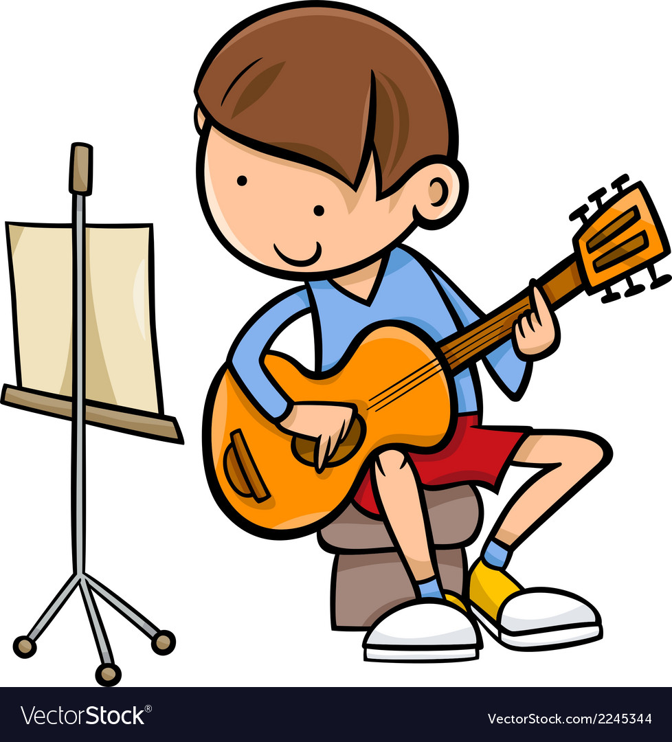 Boy with guitar cartoon vector | Price: 1 Credit (USD $1)