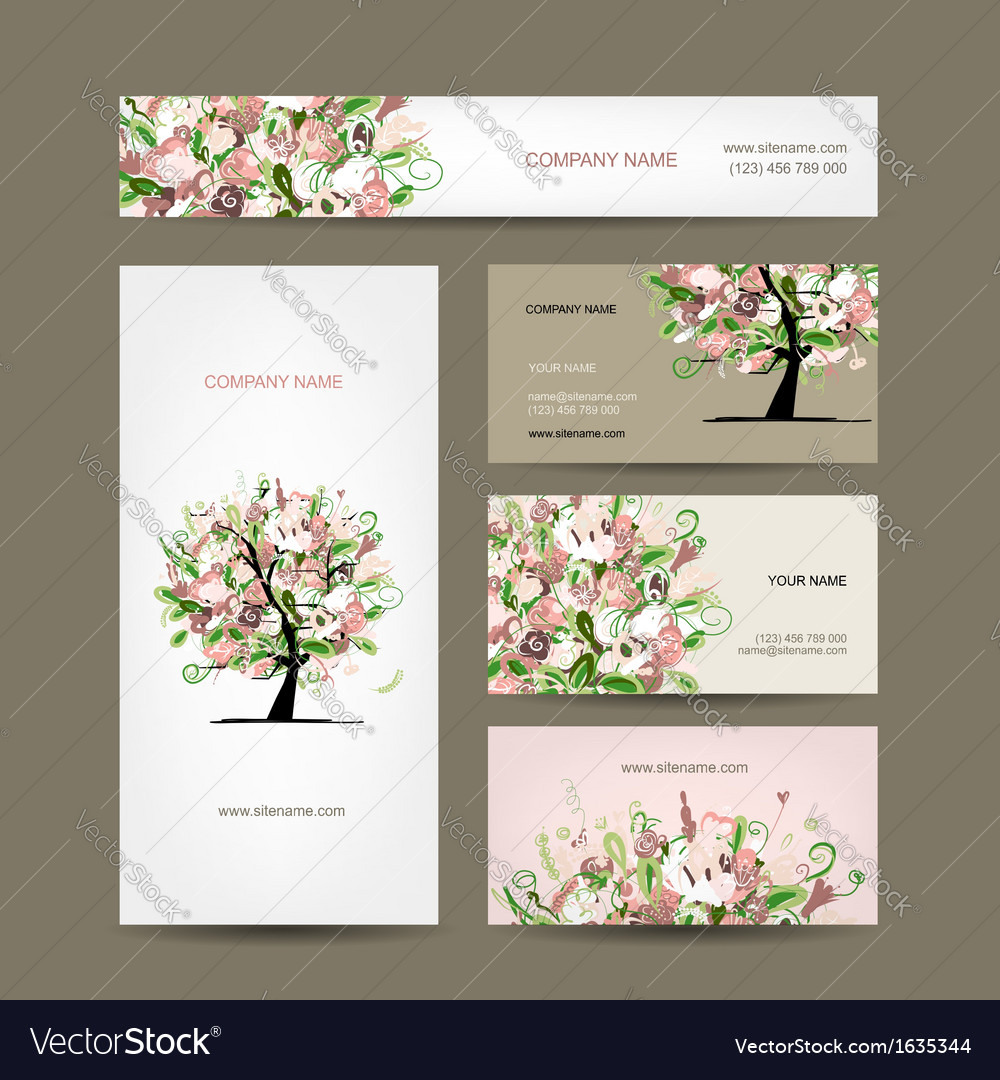 Business cards design with floral tree sketch vector | Price: 1 Credit (USD $1)
