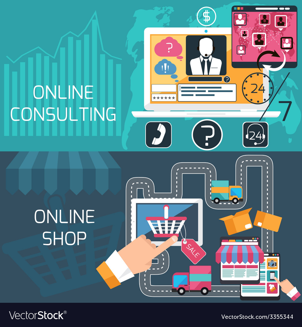 Concept for online shopping and consulting service vector   Price: 3 Credit (USD $3)