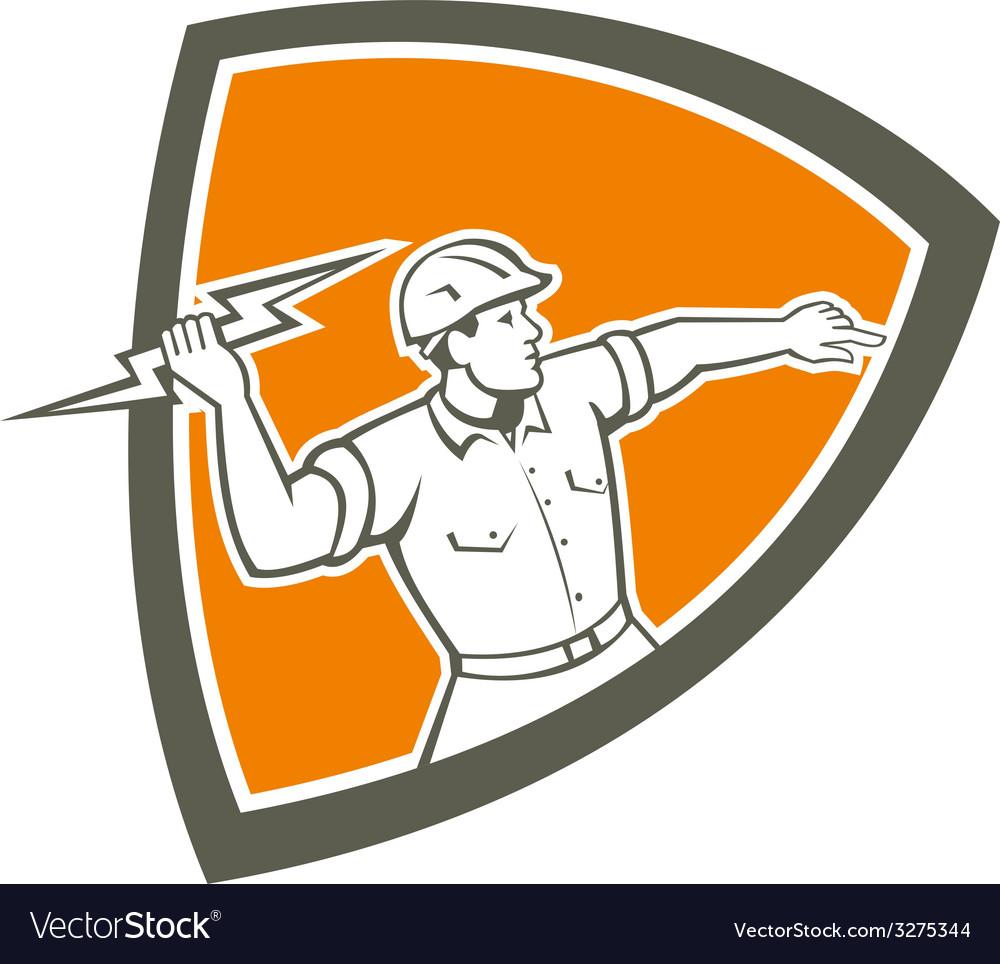 Electrician holding lightning bolt shield retro vector   Price: 1 Credit (USD $1)