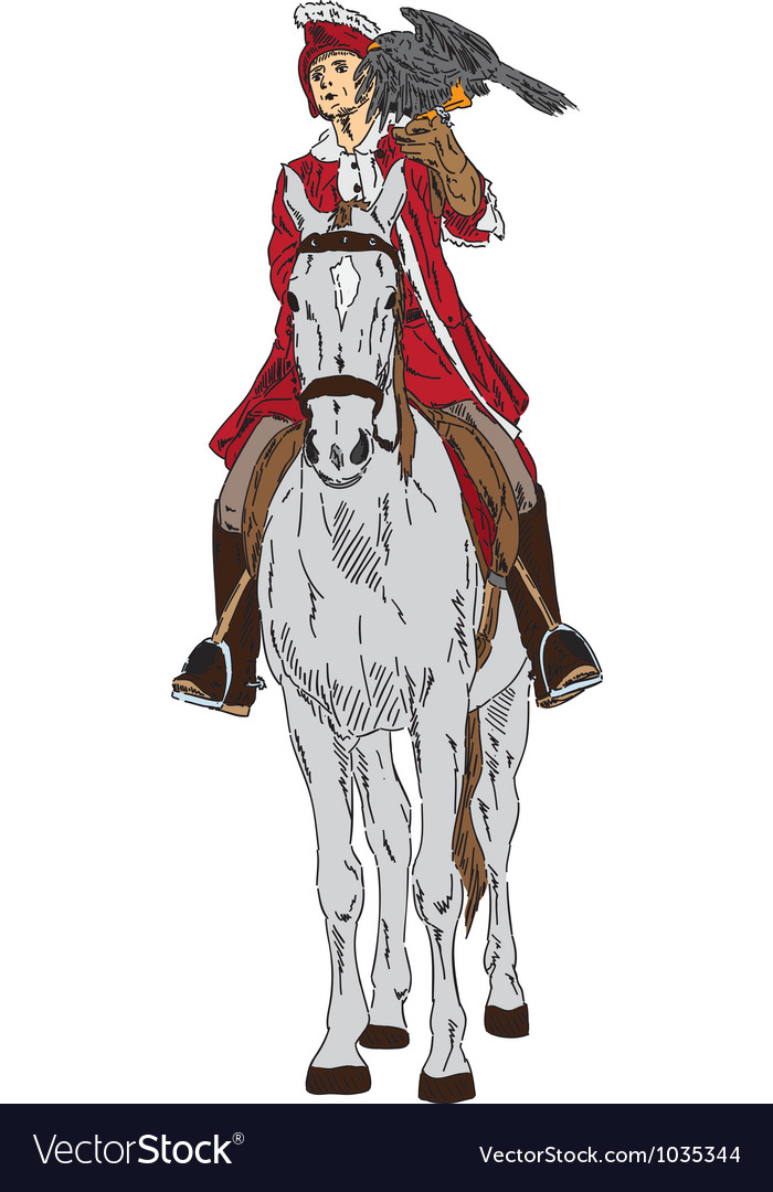 Falconer on horse vector | Price: 1 Credit (USD $1)