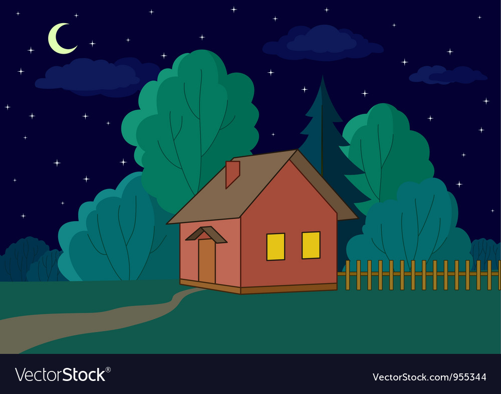 House on forest edge night vector | Price: 1 Credit (USD $1)